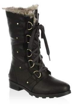 Sorel Emelie Faux Fur & Leather Lace-Up Boots