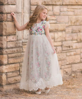 Aletta Mint Floral Gown - Toddler & Girls