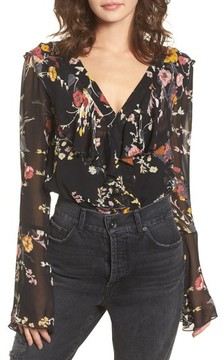 Band of Gypsies Women's Floral Ruffle Bodysuit