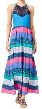 Tommy Hilfiger Women's Printed Crochet-Detail Maxi Dress