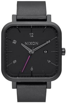 Nixon Men's 'Ragnar' Square Leather Strap Watch, 40Mm X 40Mm