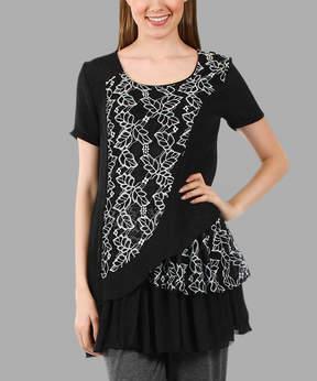 Lily Black & White Floral Ruffle Tunic - Women