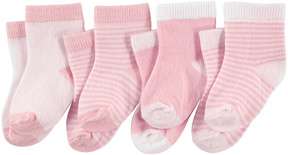 Luvable Friends Light Pink & White Four-Pair Socks Set - Infant