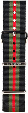 Briston 20mm Striped Nylon Watch Strap, Black/Green/Red