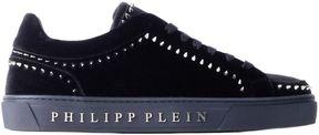 Philipp Plein Black Velvet Studded Mid-top Rose Sneakers
