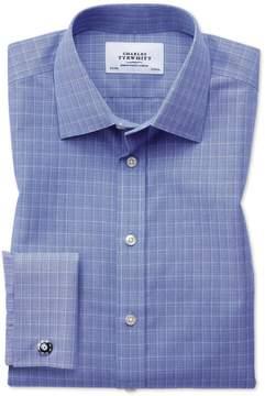 Charles Tyrwhitt Slim Fit Non-Iron Prince Of Wales Blue Cotton Dress Shirt Single Cuff Size 14.5/33