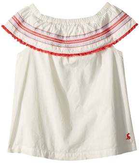 Joules Kids Woven Off Shoulder Fringe Top Girl's Clothing