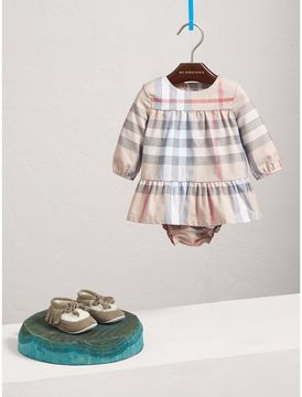 Burberry Check Cotton Tiered Dress with Bloomers
