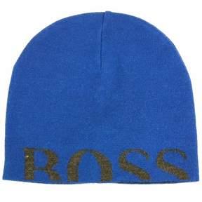 HUGO BOSS Men's Knitties Hat Blue Knit Beanie Hat