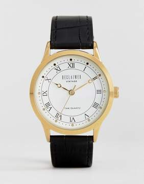 Reclaimed Vintage Inspired Leather Watch In Black Exclusive to ASOS