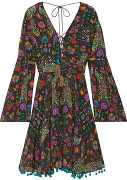 Matthew Williamson Pampas Peacock Pompom-embellished Printed Silk Crepe De Chine Mini Dress - Black