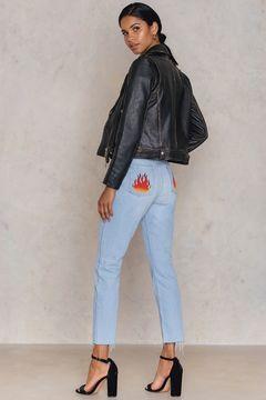 NA-KD Flame Back Pocket Jeans