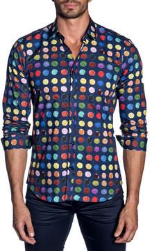 Jared Lang Men's Modern-Fit Paint-Dot Long-Sleeve Shirt
