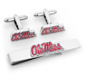 Ice Ole Miss University Rebels Cufflinks and Tie Bar Gift Set
