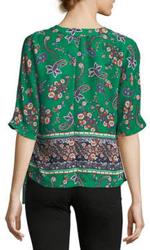 Collective Concepts V-Neck Side-Ties Top, Green Pattern