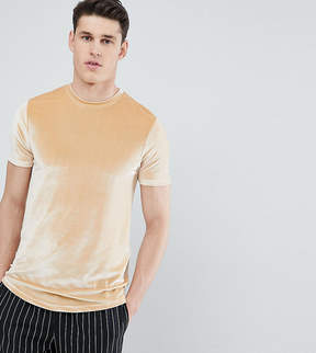 Asos DESIGN Tall longline t-shirt with curved hem in beige velour