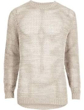 River Island Mens Stone mesh knit slim fit sweater