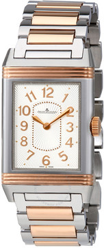 Jaeger-LeCoultre Jaeger Lecoultre Grande Reverso Silver Dial Steel And 18kt Rose Gold Ladies Watch