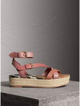 Burberry Two-tone Leather Espadrille Sandals