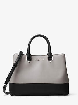 Michael Kors Savannah Color-Block Saffiano Leather Satchel - GREY - STYLE