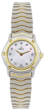 Ebel Sport Classic Two Tone Stainless Steel and 18K Yellow Gold Mother Of Pearl Diamond Dial 26mm Womens Watch