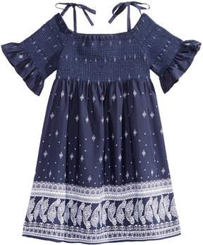 Bonnie Jean Off The Shoulder Border-Print Peasant Dress, Little Girls