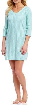 Karen Neuburger Ditsy Floral-Printed Henley Sleepshirt