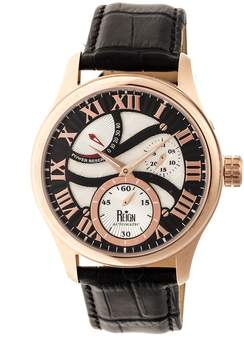 Reign Bhutan Black Engraved Dial Rose Gold-tone Stainless Steel Case Men's Watch
