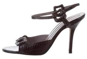 Anya Hindmarch Embossed Leather Slingback Sandals