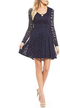 B. Darlin Long Sleeve Lace A-Line Dress