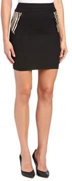 The Kooples Corolla Printed Leather Trim Wool-blend Pencil Skirt.