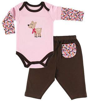 Hudson Baby Pink & Brown Deer Bodysuit & Pants - Infant