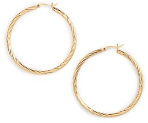 Argentovivo Women's Textured Hoop Earrings