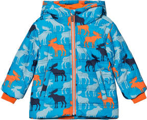 Hatley Blue Moose Print Puffer Coat