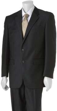 Chaps Big & Tall Shadow Striped Wool Black Suit Jacket