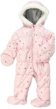 Carter's Infant Girls Light Pink Foil Hearts Snowsuit Baby Pram Snow Suit 6-9m