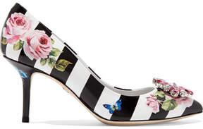 Dolce & Gabbana Crystal-embellished Printed Patent-leather Pumps - Black