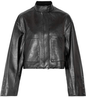 3.1 Phillip Lim Cropped Leather Jacket - Black