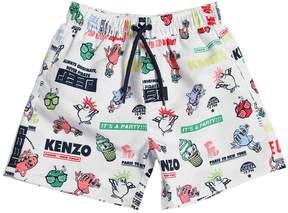 Kenzo Logo Party Print Nylon Swim Shorts