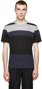 Paul Smith Navy and Grey Colorblock T-Shirt