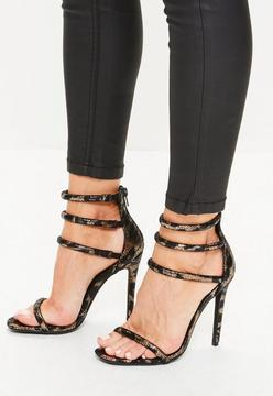 Missguided Gold Metallic Leopard Four Strap Heeled Sandals