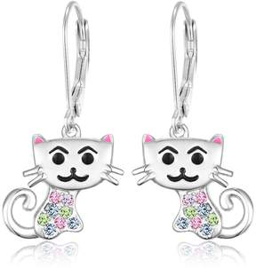 Swarovski Chanteur Jewelry White Gold Plated Sterling Silver Multi-Crystal Crystal Accent Cat Drop Earrings