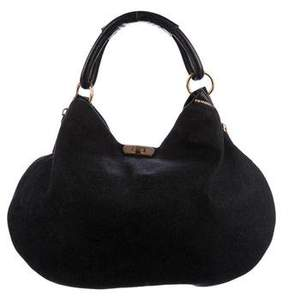Marni Leather-Trimmed Felt Hobo