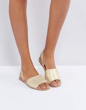 Pieces Suede Metallic Two Part Sandals