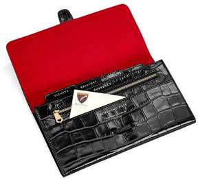Aspinal of London Classic Travel Wallet In Deep Shine Black Croc Red Suede
