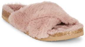 BC Footwear Women's Faux Fur Crisscross Sliders