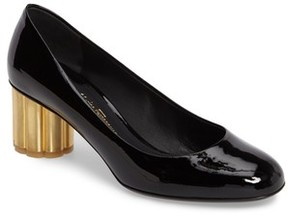 Salvatore Ferragamo Women's Rounded Toe Flower Heel Pump