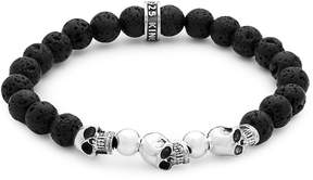 King Baby Studio Men's Sterling Silver Skull Beaded Bracelet