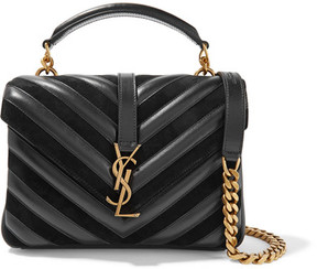 Saint Laurent - College Medium Quilted Leather And Suede Shoulder Bag - Black