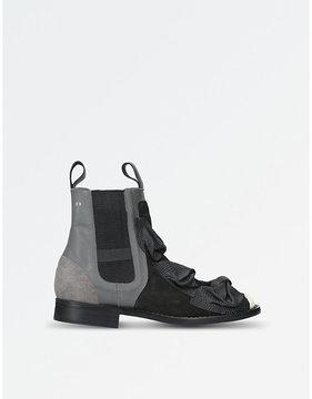 Comme des Garcons Ladies Black Triple Bow-Detail Suede And Leather Chelsea Boots